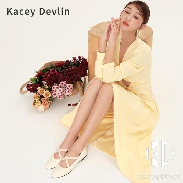 單鞋女春秋平底柔軟奶奶鞋芭蕾舞鞋【Kacey Devlin】