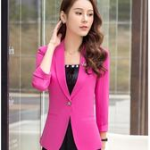 美之札[8A125-PF]西裝領單釦單色OL七分袖西裝外套~