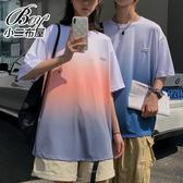 情侶T 繽紛漸層渲染寬版短袖上衣【NQ920012】