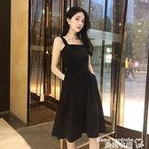 吊帶洋裝 法式連身裙女夏輕奢設計感赫本風小黑裙性感收腰顯瘦輕熟風吊帶裙 曼慕
