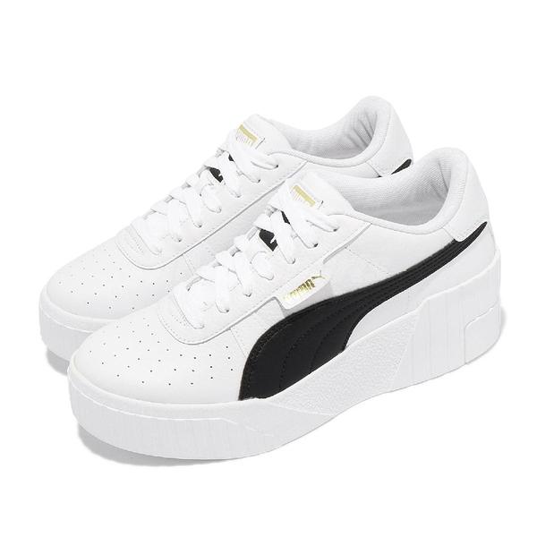 【海外限定】Puma 休閒鞋 Cali Wedge Wns 白 黑 金標 厚底 增高 女鞋 皮革鞋面 【ACS】 37343805