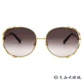 GUCCI 太陽眼鏡 GG0595S (金-粉白) 2019 珊瑚蛇系列 金屬圓框 墨鏡 久必大眼鏡