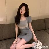 短袖洋裝~裙子女夏季復古網紗拼接修身內搭包臀短裙收腰顯瘦短袖輕熟洋裝