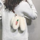 卡通毛绒兔耳朵小方包可爱小包包女韩版新款简约单肩包斜背包  遇見初晴