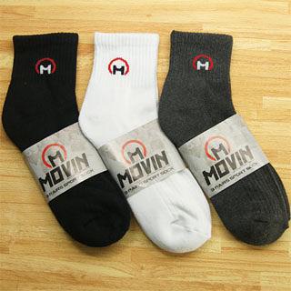 MOVIN 運動彈力厚底休閒短襪-3雙組--黑、灰、白三色-502BWA