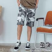 【OBIYUAN】工作短褲 迷彩 翻蓋 多口袋 印花 休閒短褲 共1色【P6608】