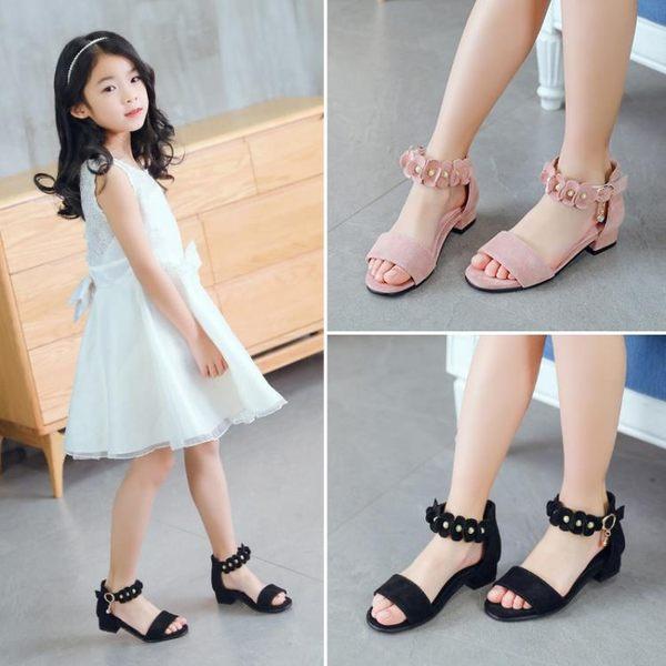 女童涼鞋2018新款韓版夏季公主中大童高跟鞋