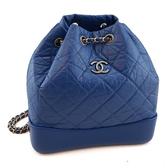 【奢華時尚】CHANEL 藍色菱格紋牛皮銀鍊束口水桶後背包(九五成新)#24047