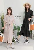 A-SO-BI韓系-腰間抽繩綁帶長版襯衫口袋洋裝罩衫【R20877-14】