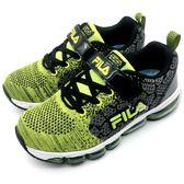 《7+1童鞋》FILA 3-J808S-909 針織網布 透氣輕量 氣墊鞋 運動鞋 慢跑鞋 4230 綠色