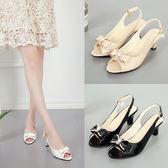 新款夏季魚嘴涼鞋中跟漆皮蝴蝶結高跟鞋正韓細跟白色女鞋子大小碼三角衣櫥