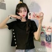 排扣黑色寬鬆短袖T恤女ins潮短款上衣服學生韓版百搭夏設計感  【快速出貨】