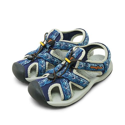 LIKA夢 GOOD YEAR 專業戶外踏青旅遊護趾運動涼鞋 藍灰黑 72606 女