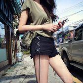 春夏新款歐美復古綁帶牛仔短褲修身高腰側開叉熱褲女黑色闊腿褲潮 探索先鋒