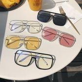 平光眼鏡透明男女金屬框方形情侶太陽鏡【奇趣小屋】