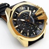 【萬年鐘錶】DIESEL 潮牌 霸氣 三眼 計時碼錶 日期顯示 黑錶面 金殼 黑皮帶 超大錶徑 53mm DZ4344