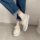 帆布鞋 初秋新款平底簡約純色女夏系帶淡黃百搭學生帆布鞋-Ballet朵朵