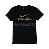 Nike 短袖T恤 W Volleyball Tee 黑 金 女款 短T 排球 運動休閒 【ACS】 561423010V-B70