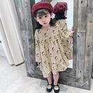 復古感櫻桃滿印長袖長版上衣 長版上衣 連身裙 洋裝 女童 橘魔法 現貨 童裝