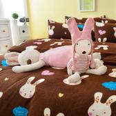 Pure One 超保暖搖粒絨 - 迷戀兔 - 咖 [獨家設計] @ 雙人超厚兩用被套床包組 @台灣製 @SGS檢驗合格