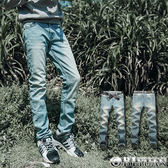 出清不退換 專櫃質感【BW303】OBI YUAN韓版鬼洗刷白彈性單寧牛仔褲 出清不退換