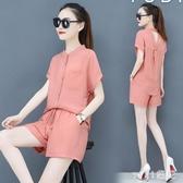 夏季運動服套裝女2020新款韓版時尚寬鬆短袖短褲休閒洋氣兩件套潮 OO6153【VIKI菈菈】