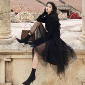 Qmigirl 黑色修身套頭毛衣+高腰網紗半身裙兩件套裝【T1067】