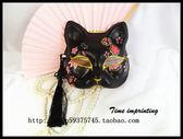手繪 日本 和服 日式和風 黑貓 狐貍面具 舞會宴會 cosplay 櫻花