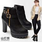 短靴 造型皮帶釦拉鍊高跟粗跟靴- 山打努SANDARU【329A906#70】