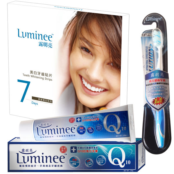 Luminee露明亮 - 美白牙齒貼片1盒+Q10抗氧化牙膏1條+超微細毛牙刷1支 ↘ 短效出清