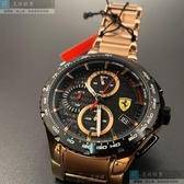 星晴錶業-FERRARI法拉利男錶,46mm玫瑰金圓形精鋼錶殼,黑色三眼, 運動錶面,玫瑰金色精鋼錶帶款