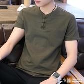 棉麻T恤~男士短袖t恤潮流夏季中國風v領半袖棉麻休閒男裝夏裝2020新款上衣