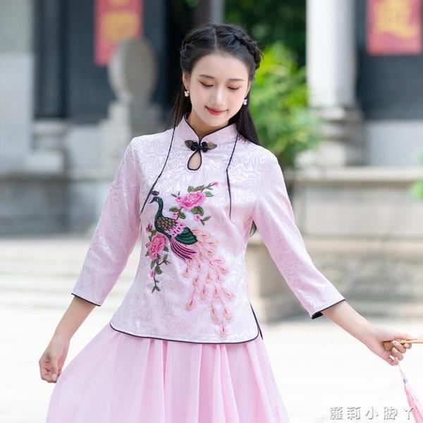 【多款】中國風上衣春夏季中式民國改良繡花唐裝旗袍T恤女裝茶服 蘿莉新品