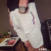 男式牛仔褲夏季破洞牛仔短褲男白色修身五分褲韓版潮流5分褲青少年薄款馬褲 金曼麗莎