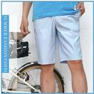 【大盤大】(A139) 男 水藍 薄款 格子休閒褲 M-3XL 五分褲 口袋 格紋工作褲 戶外 線條 潮褲短褲 禮物