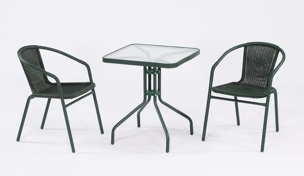 【南洋風休閒傢俱】戶外桌椅系列-60公分戶外休閒方玻璃餐桌椅組  庭園咖啡桌椅組(HT324 063)