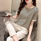 針織衫女短袖薄款夏季2021新款韓版寬鬆百搭冰絲t恤圓領條紋上衣 快速出貨