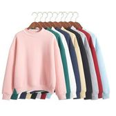 【HN03】秋冬裝新款韓版長袖衛衣女套頭寬松純色上衣加厚加絨學生外套