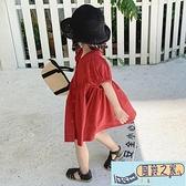 兒童連身裙 夏季新款女童洋氣泡泡袖連身裙中小童可愛純色開衫公主裙 【風鈴之家】