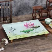 琉璃茶盤圓腳長方形排水式功夫茶盤茶具單層茶船