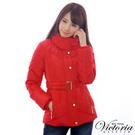 Victoria  腰帶絲棉外套-紅-V4513613
