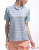 夢特嬌短袖POLO衫 亮絲系列女款氣質方格紋-水藍