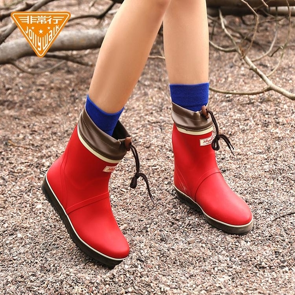 Jolly Walk/非常行雨鞋女短筒成人雨靴時尚防水鞋女士橡膠雨鞋 印巷家居