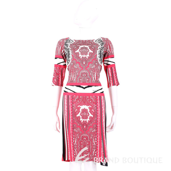 CLASS roberto cavalli 橘紅色拼接圖騰印花七分袖洋裝 1620480-49