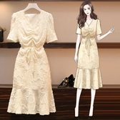 洋裝2020夏新款大碼女裝胖mm減齡雪紡連身裙魚尾洋氣遮肚子顯瘦