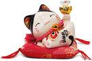 【金石工坊】錢包滿滿滿開運貓-白水晶高9...