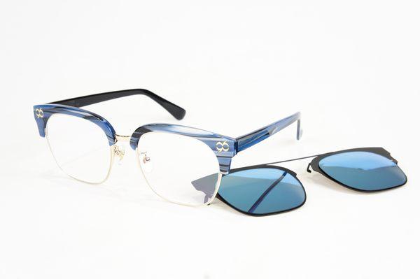 YuYu-ChangChiaYu 時尚太陽眼鏡 BEING 平光系列+ 前掛式太陽眼鏡- 藍色(湛藍勇氣)