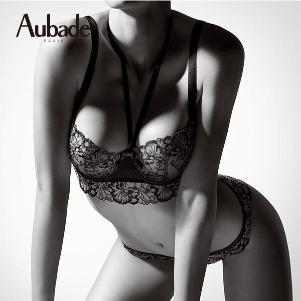 Aubade-夢綺思蕾絲薄襯E半大罩內衣(黑)HH