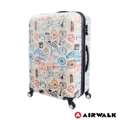 美國AIRWALK LUGGAGE - 滿版郵戳系列 可加大 登機箱/行李箱-20吋-白