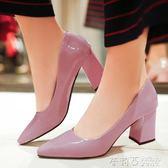 中跟鞋 高跟鞋女粗跟淺口漆皮裸色單鞋女6cm中跟女鞋紅色婚鞋尖頭鞋  茱莉亞嚴選